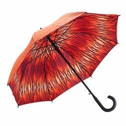 Woman's Orange Tiger Double Cover Cane Auto Open Umbrella 48