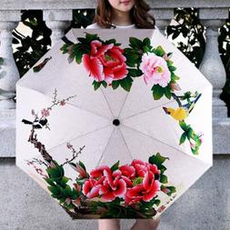 Woman Sun/Rain Umbrella Poeny Print Folding Parasol Windproo