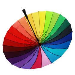 Women Colorful Rainbow Umbrella Rain Sun Parasol Wedding Par