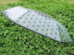 Women Compact Folding Polka Dot Umbrella Transparent Dome Ra