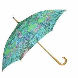 Women's Auto Open Monet Print Stick Umbrella, Monet