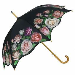 CTM Women's Auto Open Rose Print Stick Umbrella, Black