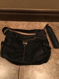 Rosetti Women's Black Faux Leather Purse Umbrella NWT