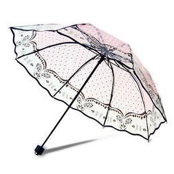 Women Transparent Umbrella Folding Monochrome Parasol Lady R