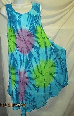 Women Umbrella Dress Ladies Summer  Tie Dye printed free siz