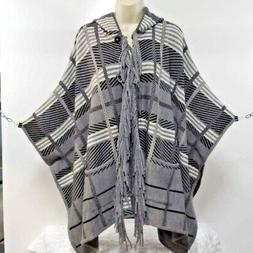 Scoop NYC Womens Poncho Sweater Gray White 100% Wool Striped