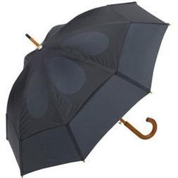 Wood Crooked Handle Umbrella NAVY