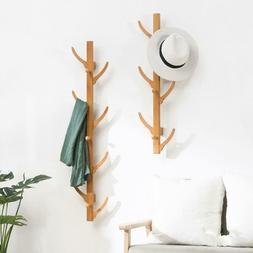 Wooden Coat Rack Clothes Hanger Hat Tree White Jacket Bag Um