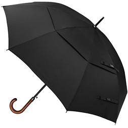G4Free Wooden J Handle Classic Golf Umbrella Windproof Auto