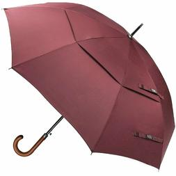 G4Free Wooden J Handle Classic Golf Umbrella Windproof Auto
