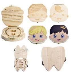 Wooden Kids Baby Tooth Box Organizer Milk Teeth Wood Storage