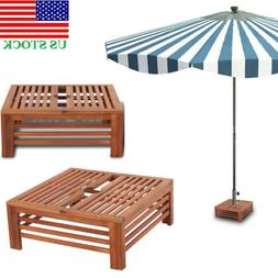 Wooden Parasol Stand Cover Deck Garden Terrace Pool Umbrella