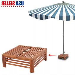 Wooden Parasol Stand Cover Umbrella Sunshade Base Holder Pat