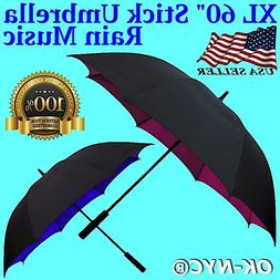 """Rain Music"" XL 60"" Automatic Open Golf Stick Umbrella Windp"
