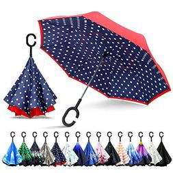 ZOMAKE Inverted Umbrella,Double Layer Reverse Umbrella Large